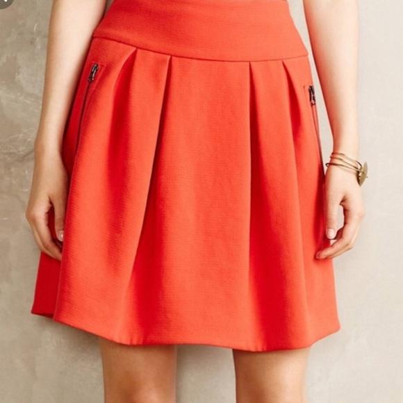 Anthropologie Dresses & Skirts - Anthropology Maeve scarlet swing zipper skirt